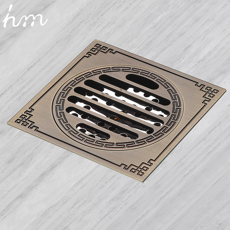 hm Waste Antique Floor Drain Brass Bathroom Accessory Euro Linear Shower Wire Strainer Carved Cover Drains Drain Strainers drains 10 10cm antique brass shower floor drain cover euro art carved bathroom deodorant drain strainer waste grate hj 8507s