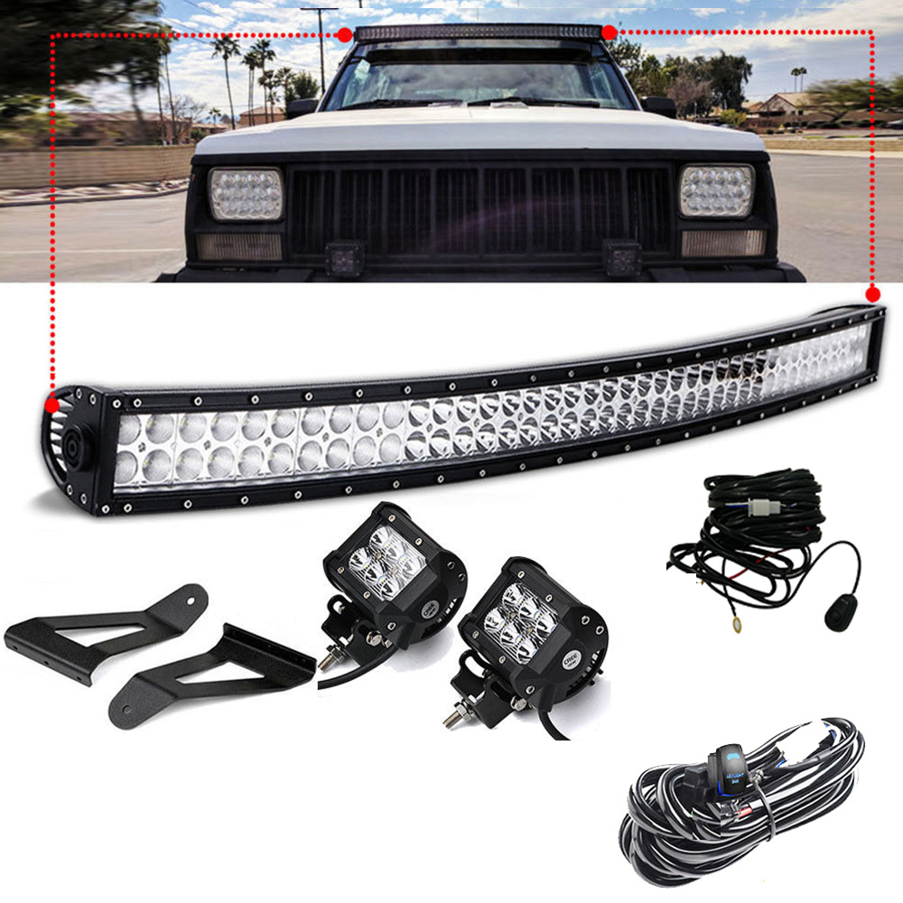 50 Curved Combo LED Light Bar + Roof Mount Bracket + 2x 4 Pod Spot Led Work Light With Harness for Jeep Cherokee XJ 1984~2001