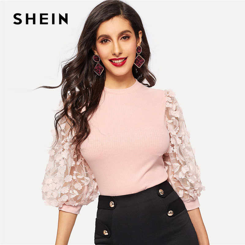 SHEIN Pink Lady Elegant Bishop Sleeve Lace Floral Appliques Rib-Knit Tee Women Spring Casual High Street Fashion Tshirt Tops