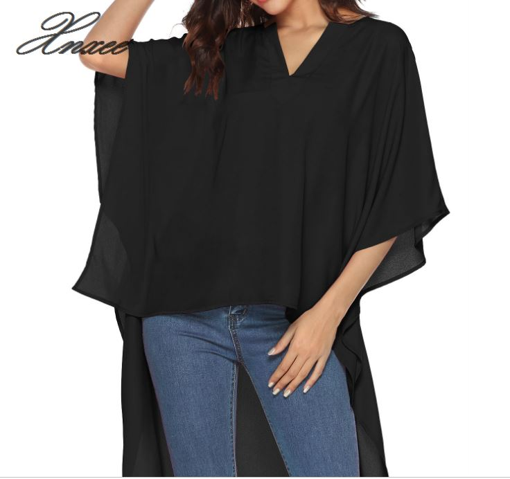 2019 new womens explosions before the short long V-neck loose bat sleeve chiffon shirt