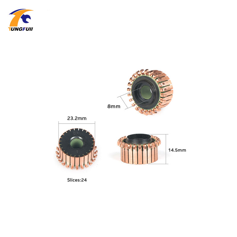 TUNGFULL 23.2x8x14.5mm 2Pcs Copper Rod Alternator Motor Copper Tones Brass Engine Collector Micro-Drilled Motor Parts