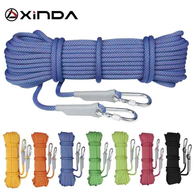 XINDA Escalada 10M პროფესიონალური როკ ასვლა თოკი Rappelling 10.5 მმ დიამეტრი მაღალი სიმძლავრის კაბელი უსაფრთხოების თოკზე გადარჩენის თოკზე