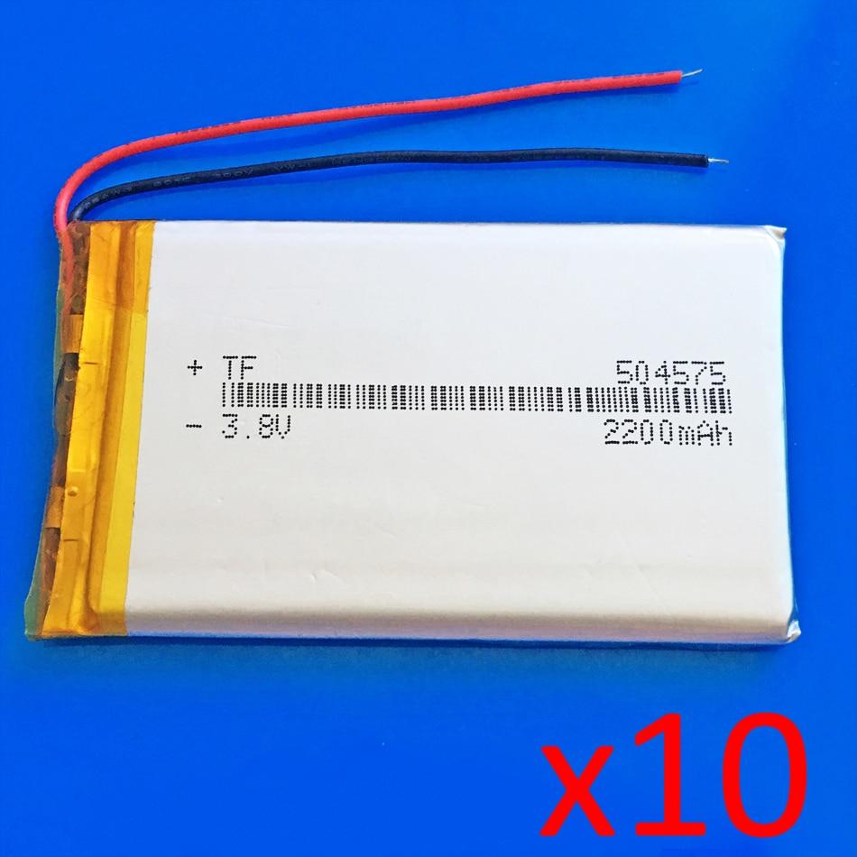10 pièces 3.7 V 2200 mAh lipo polymère lithium batterie Rechargeable pour MP3 GPS navigateur haut-parleur batterie externe tablette PC ordinateur portable 504575