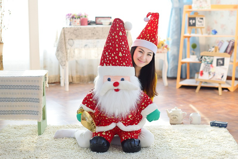 цена на big new plush Santa Claus toy lovely red hat Santa Claus doll gift about 100cm
