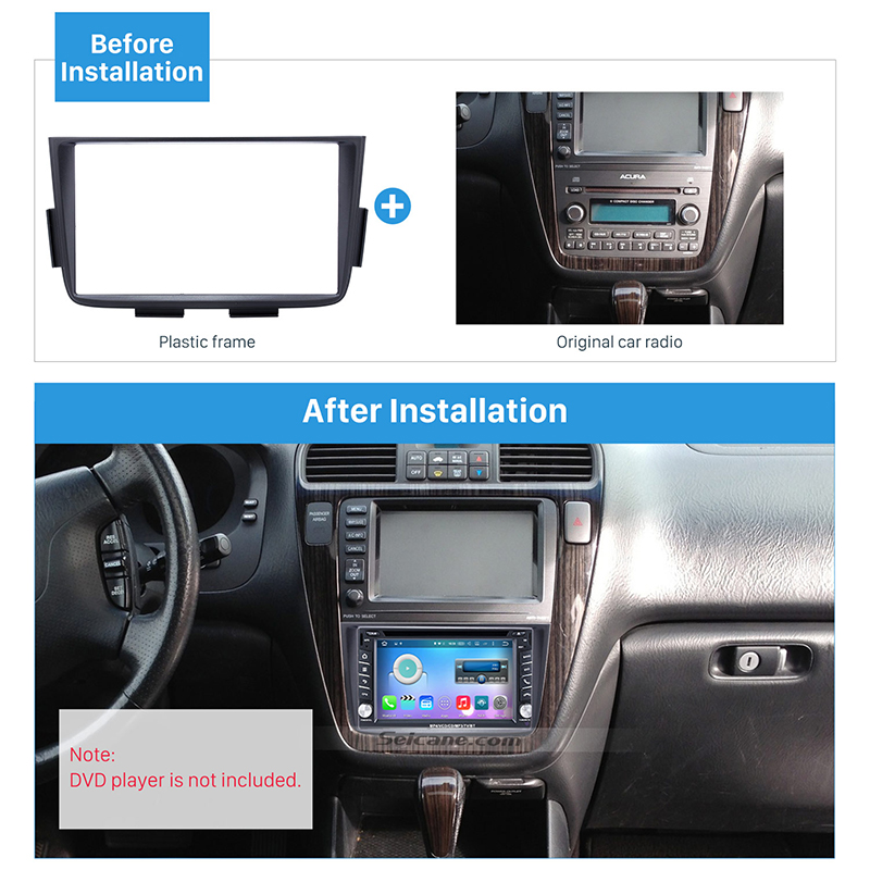 Seicane Black Double Din Car Radio Fascia Trim Kit for 2001-2006 <font><b>ACURA</b></font> <font><b>MDX</b></font> Stereo Dash CD Installation Kit DVD GPS Frame Panel image