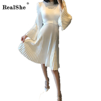 RealShe Elegant Bodycon Dress 2018 Women Knit Cute Flare Long Sleeve Dress Autumn Sexy Midi Dresses