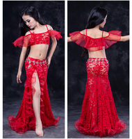Girls Professional Belly Dancing Clothes Luxury Sleeveless Top Lace Split Sirt 2pcs Child Dance Set Kids