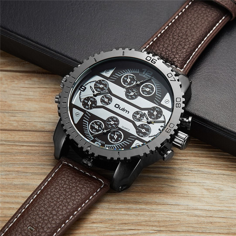 Oulm Super Large Size Watches Men Four Time Zone Quartz Wristwatch Oversize Male Big Watch PU Leather Man Hours Military Clock weide new men quartz casual watch army military sports watch waterproof back light men watches alarm clock multiple time zone