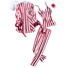 High Grade Satin Pajama Sets For Women Long Sleeve Striped Sleepwear Cami Top+Trousers+Robe 3PCS Elegant Nightwear Sexy Homewear цены онлайн