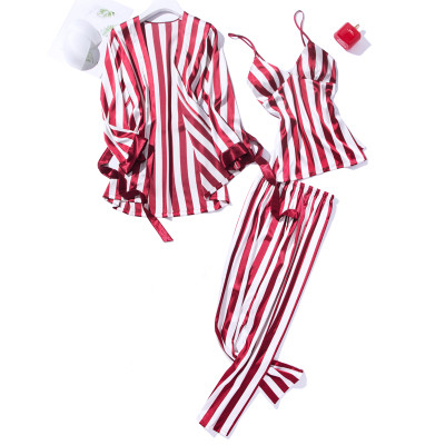 High Grade Satin   Pajama     Sets   For Women Long Sleeve Striped Sleepwear Cami Top+Trousers+Robe 3PCS Elegant Nightwear Sexy Homewear