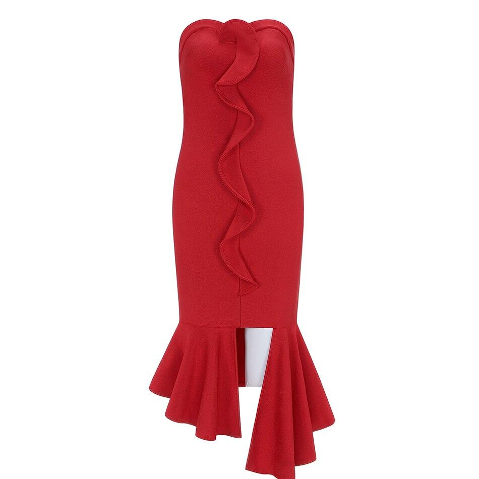 2019 Moulante En Mode Sexy De Nouveau Rouge Haut Tube Queue Bandage Club Robe Party Poisson FKulJ5T1c3