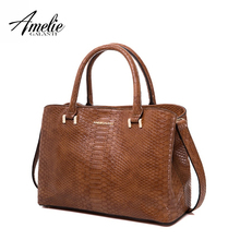 AMELIE GALANTI Handbags Woman Hard Serpentine Medium size Advanced fabrics PU Versatile Fashion high-grade