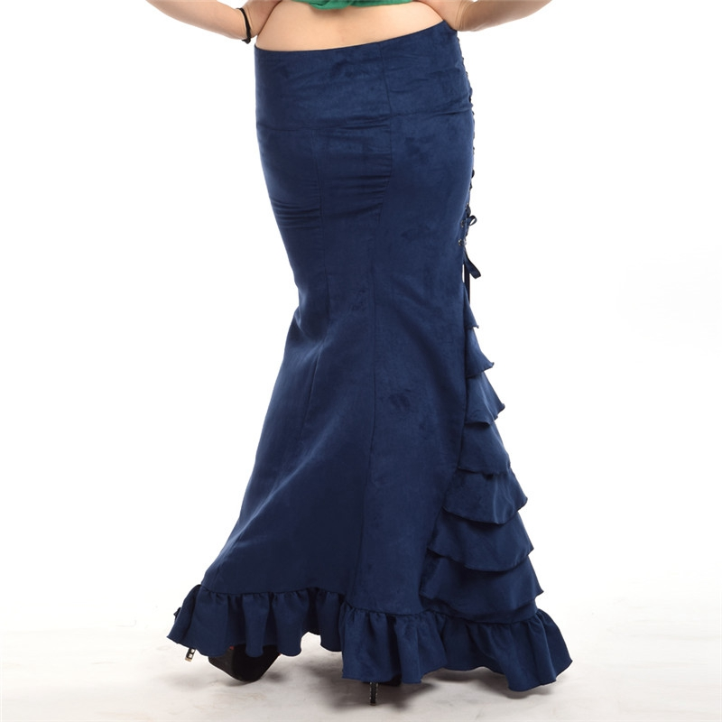 Qadın Mermaid Etek Vintage Victoria Slim Maxi Uzun Krujeva Fishtail - Qadın geyimi - Fotoqrafiya 5