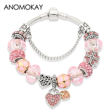 Hot Antique Pink Heart Flower Charm Pan Silver Bracelets for Women Pink Crystal Beads fit Original Bracelets Diy Jewelry Making 14k gold charm bracelets for women pink crystal and lapis lazuli beads bracelet bohemia vintage original fine jewelry