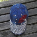 women  Shining  sun hat bling bling  Rhinestone lipstick  jeans color cotton  Denim baseball cap