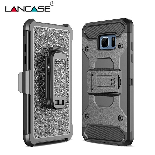 LANCASE For Samsung S7 Edge Case Belt Clip Armor Shockproof Case For Samsung Galaxy S7 Edge & S7 Cover Stand Holder Phone Cases