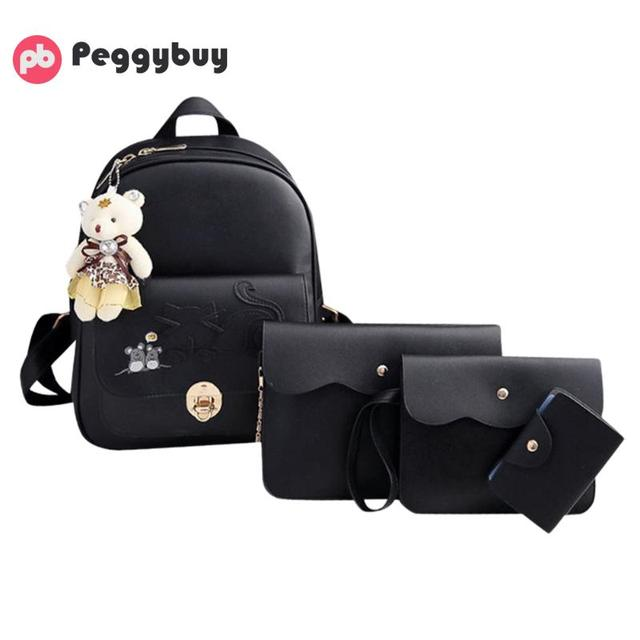 4pcs/Set Women Cat Mouses Pattern Backpack Shoulder bagpack Small Card Bag  mochilas mujer Schoolbags back bags for women 2019