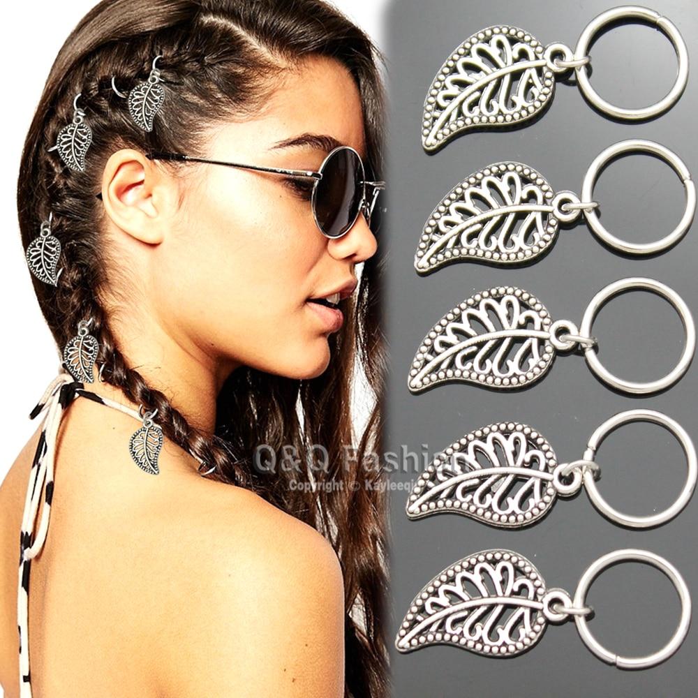 Brand New 5x Filigree Leaf Feather Charm Hoop Dreadlock Dreads Updo Hair Pin Dress Clip Jewelry 2017 New