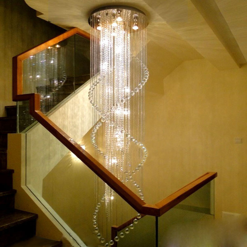 LED modern double staircase chandelier crystal lamp staircase light chandelier villa hall hanging line lights lighting fixture