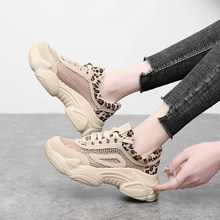 Sexy Leopard Women Boots 2019 Summer Ankle Botte Femme Air Mesh Botines Mujer Lace Up Sapatos Mulher Rubber Platform Sneakers