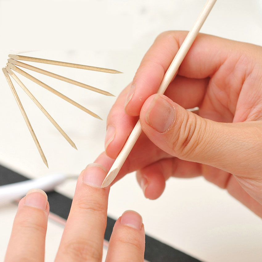 Nail Orange Wood Cuticle Pusher Stick Set 100Pcs Dead Skin Remover Nail Art Decoration Manicure Pedicure Double Sides Nail Tools