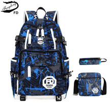 FengDong big size anti theft blue waterproof boys school backpack USB shoulder bags for men school bag set male laptop bag 15.6