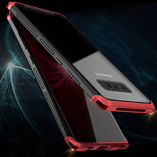sFor Galaxy Note 8 Case 9 Note8 Transparent Metal Glass Cover Samsung  For coque