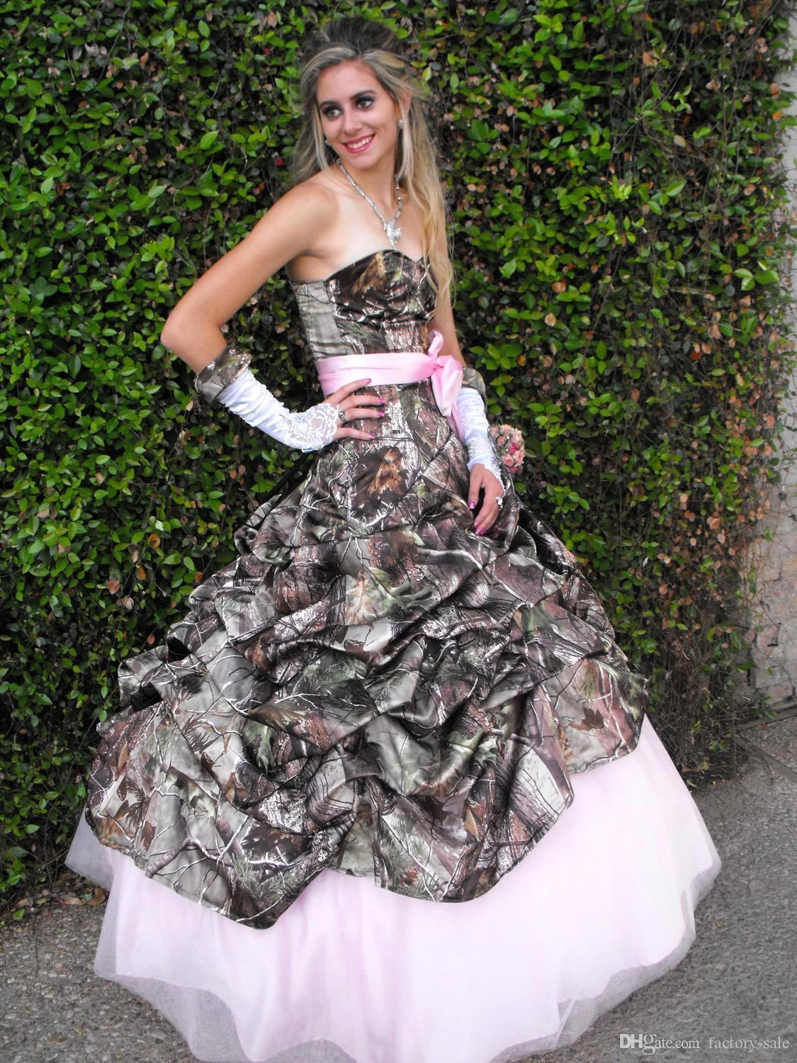 camo wedding dresses under camouflage wedding dresses Cute Pink Camo Wedding Dress Sweetheart Drapped Ball Gown Vine Forest Prom Dresses