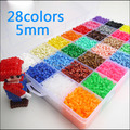5mm 28color/set 1lot=18000pcs perler hama beads education kid diy toy tweezer fuse iron paper kit craft template pegboard