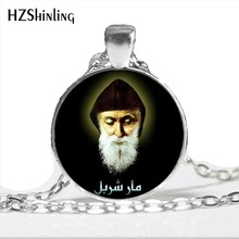 NS-00804 novo design saint charbel colar arte imagem cúpula de vidro jóias st charbel orar pingente colares para os cristãos hz1