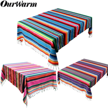 OurWarm 150X215cm Colorful Mexican Serape Blanket Fiesta Party Tablecloth Cotton Wedding Decora Cinco De Mayo