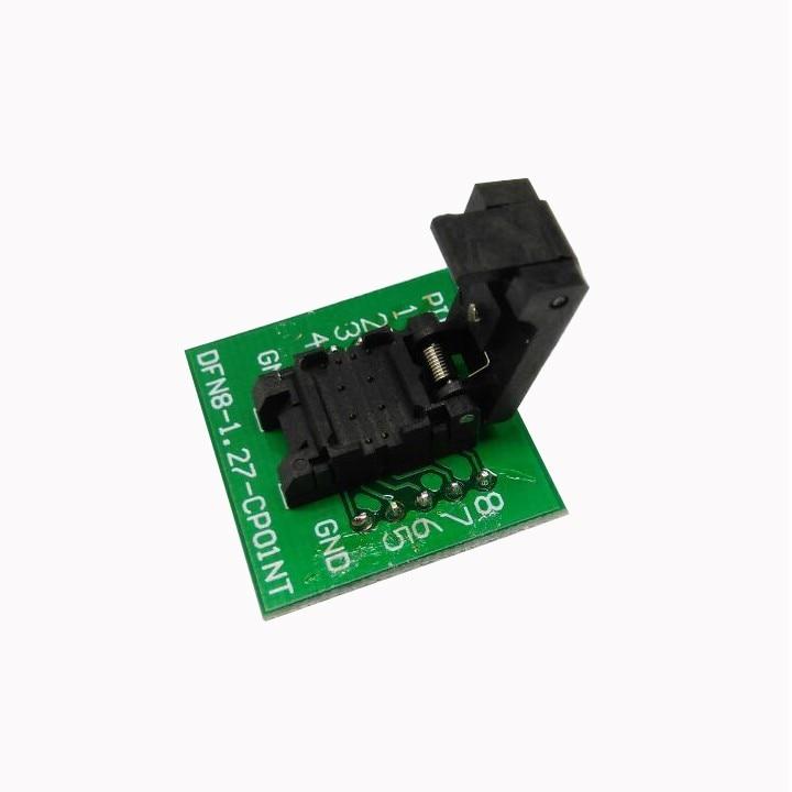 QFN8 DFN8 WSON8 6*8mm prise de programmation Pogo broche adaptateur de Test QFN8-1.27-CPO1PNL pas de broche 1.27mm IC graver dans la prise