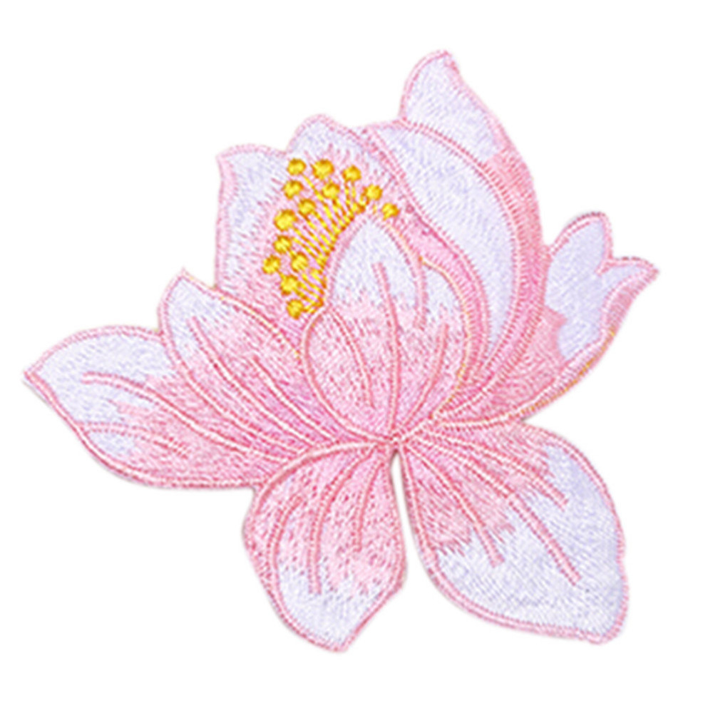 Iron on patches craft lotus flower embroidery iron on applique patch iron on patches craft lotus flower embroidery iron on applique patch sewing repair embroidered 8 colors in patches from home garden on aliexpress mightylinksfo Gallery