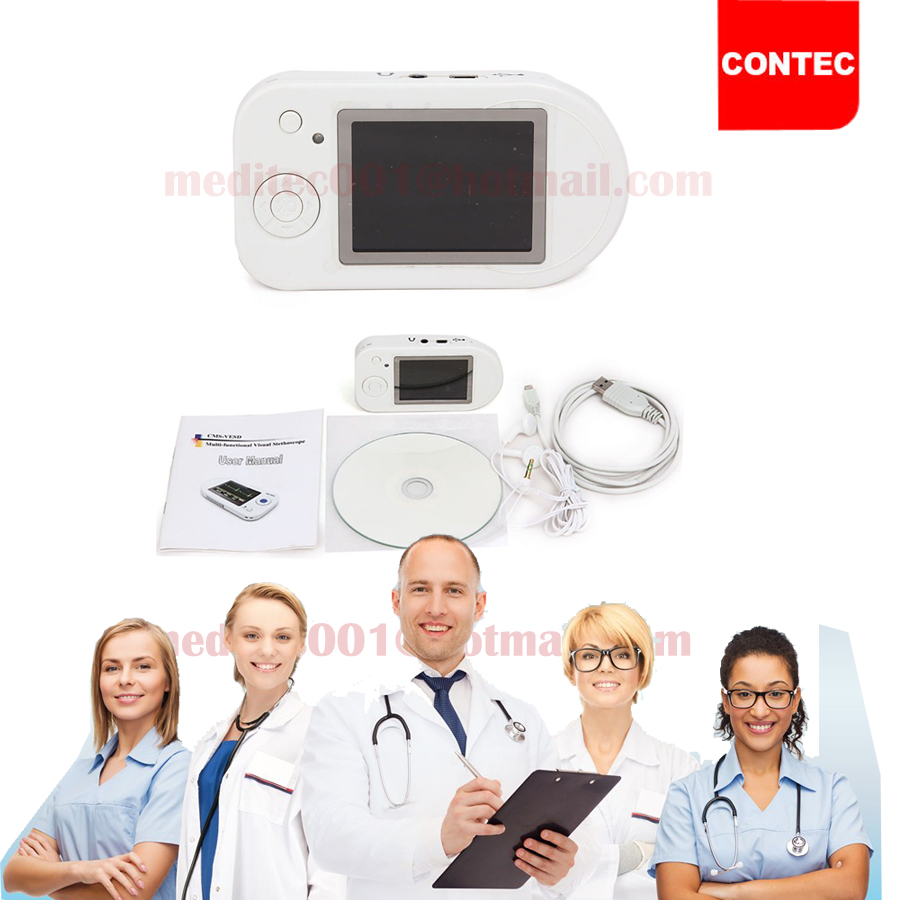 CONTEC Wholesale - CMS-VESD Visual Digital Stethoscope SPO2 PR Electronic Diagnostic PR ,VET SpO2 ,PC software review data best price multi function digital visual electronic stethoscope spo2 pulse oxygen saturation with ce approved cms m