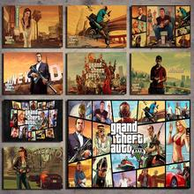 Grand Theft Auto V Game poster Decoration Poster Wall Sticker Retro Kraft Paper Poster Kraft Paper Poster Wall Sticker цены