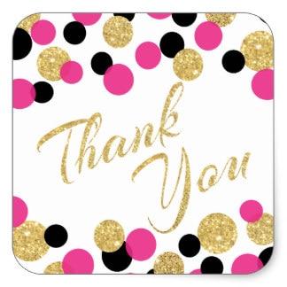 3 8cm sparkling glitter confetti thank you square sticker in