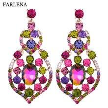Свадебные украшения эффектные серьги капли с кристаллами роскошные