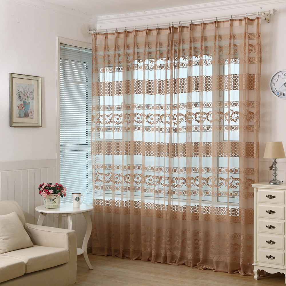 Classical Hollow Calico Finished Product Cloth Window Screens Curtains For  Living Room Tulle Cortinas(China