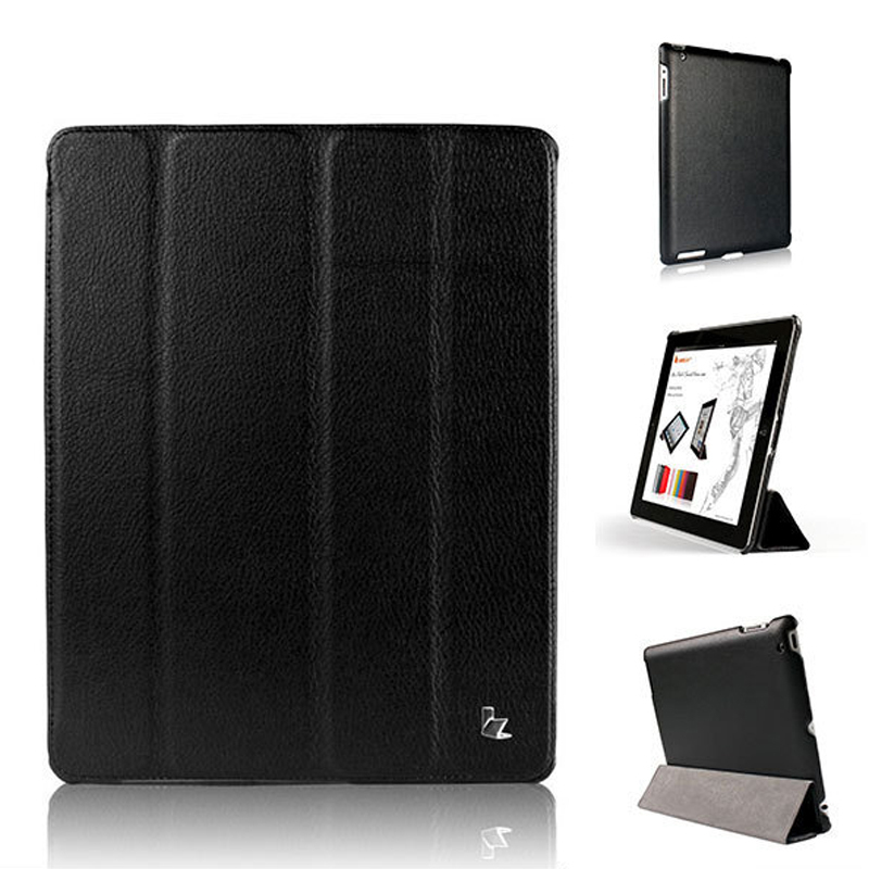 Jisoncase For iPad 4 3 2 case Magnetic Auto Wake up sleep Litchi Surface Leather Cover PU Stand Holder Case for iPad 4 3 2 business flip litchi leather case smart stand holder for apple ipad2 3 4 magnetic auto wake up sleep cover black