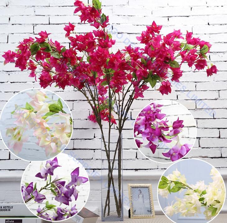 5pcslot Peach Flower Silk Flower Long Stem Artificial Wedding