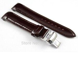 18 мм (пряжка 16 мм) T035210A Высококачественная Серебряная Пряжка-бабочка + винно-красный ремешок для часов из натуральной кожи для женщин T035207A