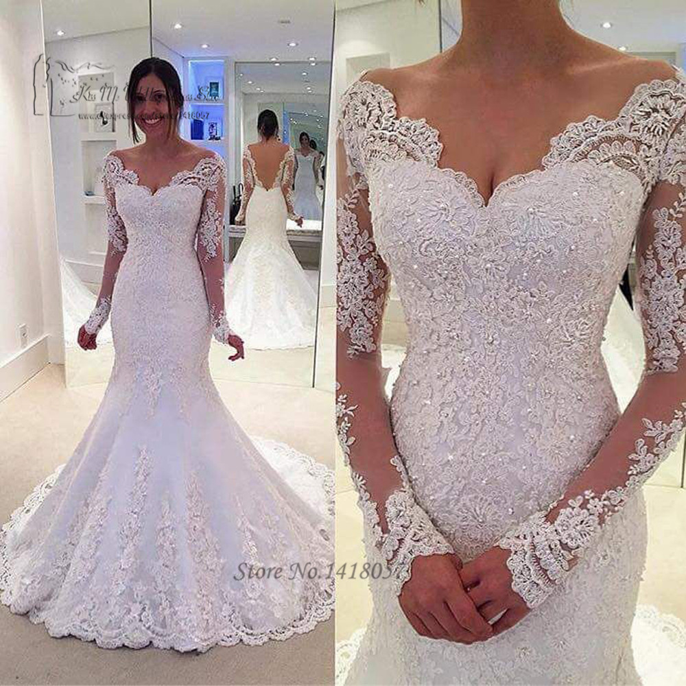 Designer Vintage Long Sleeve Lace Wedding Dress 2017 Beading Backless Bride Dresses Mermaid Wedding Gowns Winter Robe de Mariage