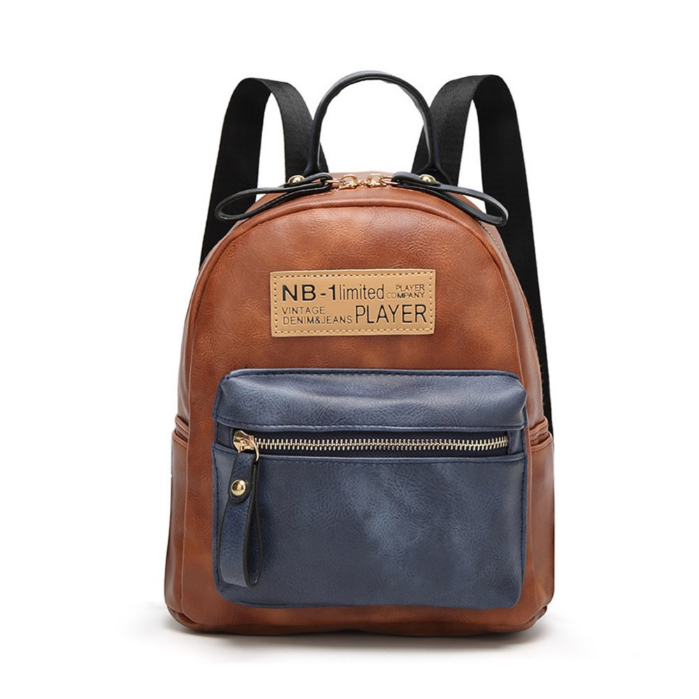 2017 New Fashion Backpack Stitching Cute Backpack Overnight Bag Women Vintage Backpack Female PU Leather School