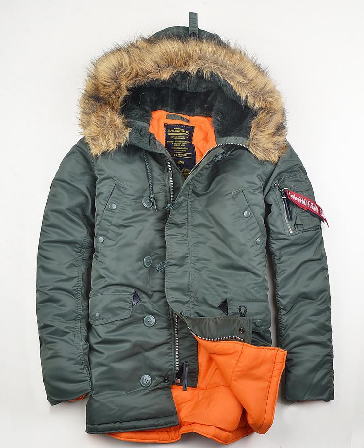 Marca n3b roupas de inverno polar masculino fino N-3B eua voando parka quente térmica longo jaqueta com capuz gola de pele algodão casaco grosso