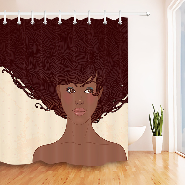 LB Afro Beauty Girl African American Shower Curtains Bathroom Curtain Make Up Woman Waterproof Washable Fabric For Bathtub Decor