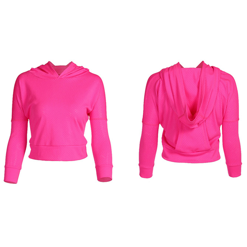 Sexy Mesh Yoga T Shirt Top Women Sport Running Hoodies with hat Long Sleeve Fitness Clothes Workout Gym T Shirt Yoga Jacket Coat