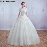 Luxury French Tulle Lace Short Sleeve Vantage Bride Boat Neck Wedding Dress 2016 Bridal Gown Vestido