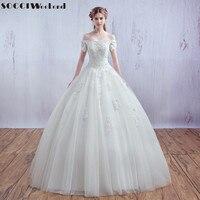 SOCCI Luxe Franse Tulle Lace Korte Mouw Vantage Bruid Boothals Strapless Trouwjurk Bruids baljurken Vestido De Noiva