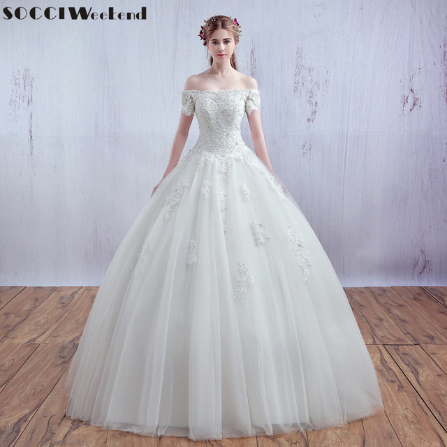 2954a3bcea28d SOCCI Vestido De Noiva Luxury French Tulle Lace Wedding Dress Short Sleeve  Vantage Bride Boat Neck Strapless Bridal Ball Gowns
