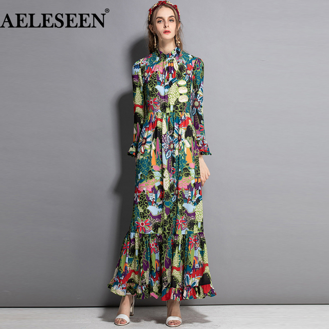 c88c85d35a67b AELESEEN High quality Women European Dresses Fashion Flare Sleeve 2018  Bohemian Ruffles Romantic Flower Long Print Dress